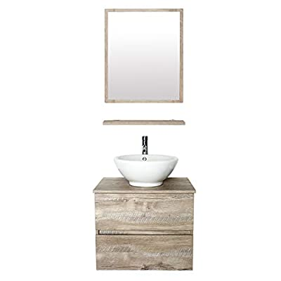 """eclife 24"""" Bathroom Wall Mounted Vanity Sink Combo Natural E02AK"""