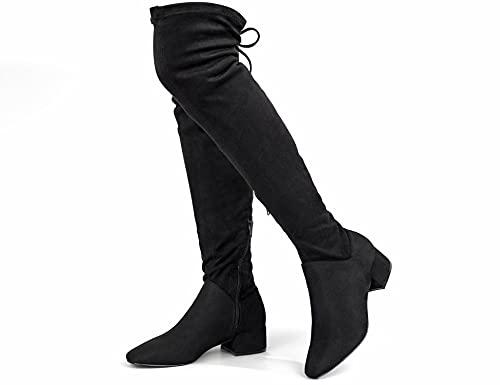 Greatonu Botas altas para mujer por encima de la rodilla, cálidas, para invierno, con cremallera lateral, parte trasera de punta, moda en el muslo, Negro 1 77 Inchs, 39 EU
