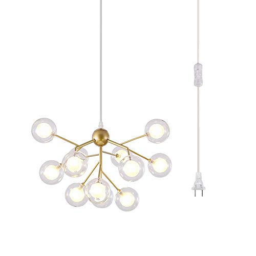 Dellemade DD00134B Plug in Sputnik Chandelier 12-Light Pendant Light with 16 ft Cord Bulbs Included,Black (Gold)