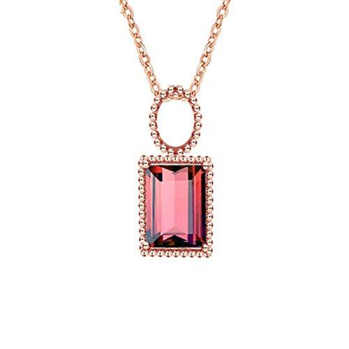 Daesar Colgante Oro Rosa 18K,Collar de Oro Rosa Para Mujer Rectángulo Turmalina Roja