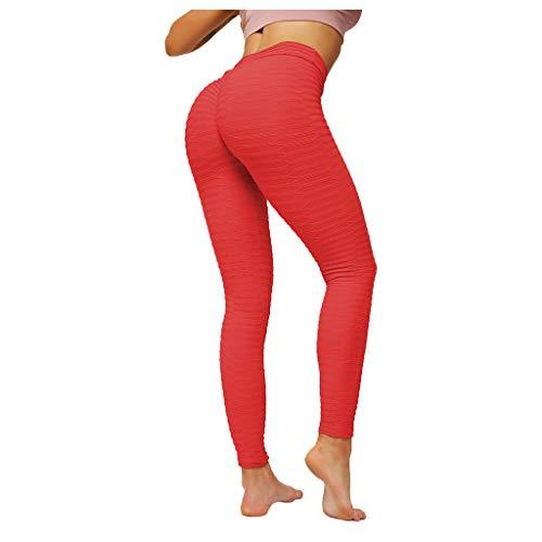 Topkeal - Leggings largos para mujer, push up, pantalones de yoga, gimnasio, pantalones de deporte, fitness, fitness, fitness, pantalones elásticos, control de abdomen rojo M