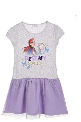 Disney Eiskönigin 2 Kleid mit Wende-Pailletten Anna und ELSA (Grau, Gr. 116)
