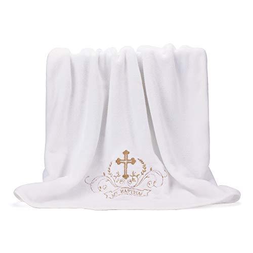Lacofia Toalla de bautizo Manta de bautismo para bebés unisex,Bordado cruz blanco y dorado,Tamaño de la toalla de baño completo 150 * 75 cm