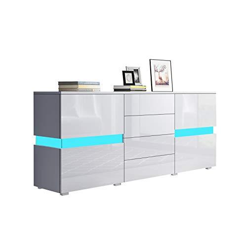Senvoziii Sideboard in Hochglanz Weiß - Moderne Kommode TV Lowboard mit 2 Türen 4 Schubladen Highboard Anrichte LED Beleuchtung 177 cm
