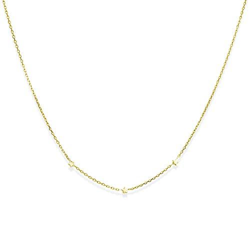 MATERIA fijne gouden ketting met sterren zilver 925 - gouden sterrenketting verguld 42 cm + 3 cm verlenging CO-30