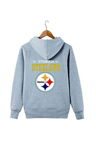 SZRXKJ Männer Langarm Mit Kapuze Buchstaben Druck Pittsburgh Steelers Football Team Einfarbig Reißverschluss Hoodies(3XL,grau)