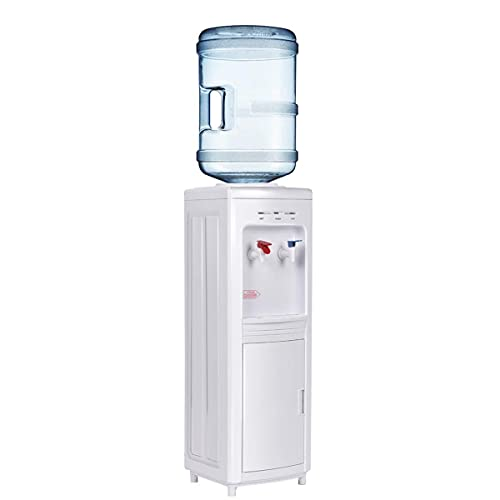 KOTEK Water Coolers Water Dispenser, Hot & Cold Top Loading Water Cooler Dispenser Holds 3 or 5 Gallon Bottles w/ Child Safety Lock, Removable Drip Tray & Storage Cabinet for Home Office School, White