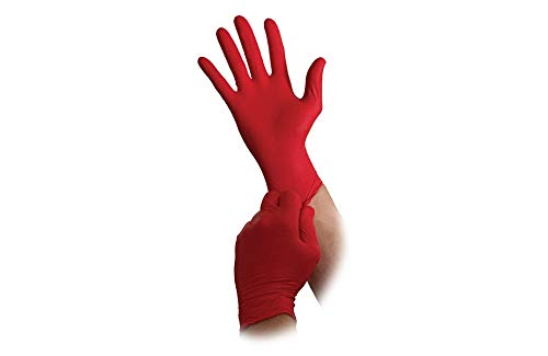 Nitrile Gloves - Textured - Non Textured - Disposable - Powder & Latex Free - 6 to 7 MIL - Case of 1000 - 10 Boxes (Small, Red 6mil)