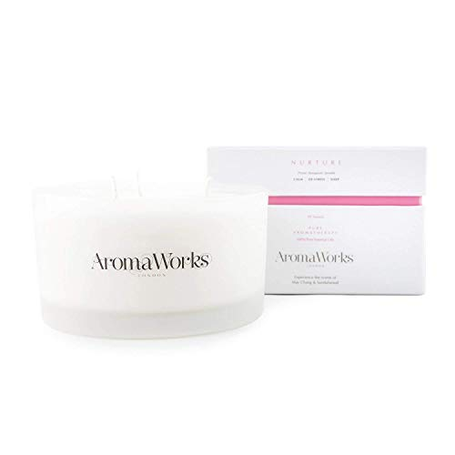 Aromaworks - Nurture Candle 3 Wick - Proven Therapeutic Benefits - Calm - De-stress - Sleep - Natural - 100% Pure Essential Oils - Scents of May Chang and Sandalwood - Large - 14.1 oz