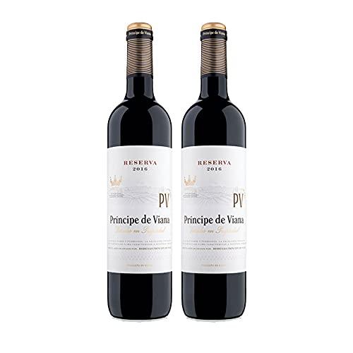 Vino tinto Principe de Viana Reserva de 75 cl - D.O. Navarra - Bodegas Principe de Viana (Pack de 2 botellas)