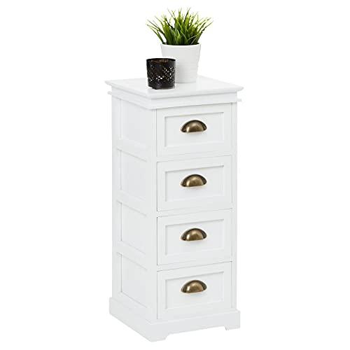 IDIMEX Chiffonnier LANDHAUS Commode 4 tiroirs en Bois de Paulownia Style Shabby Chic Vintage Classique Blanc