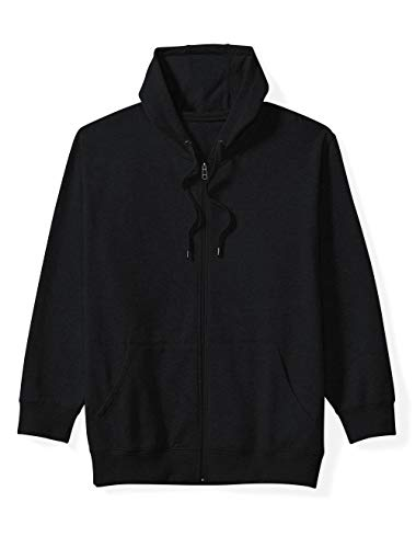 Amazon Essentials Men's Big and Tall Full-Zip Hooded Fleece Sweatshirt fit by DXL, Black, 6XLT