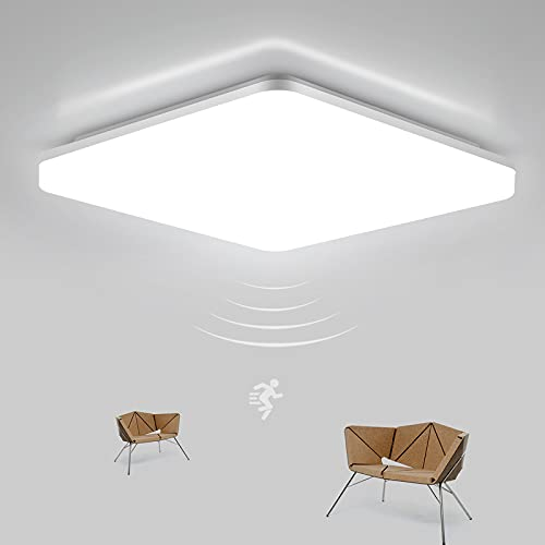 LED Deckenleuchte mit Bewegungsmelder einstellbar, LEOEU 18W 1800LM Deckenlampe LED Bewegungssensor mit Fernbedienung, IP54 Badlampe, Sensorlampe für Keller Flur Balkon Garage, Neutralweiß 4000K