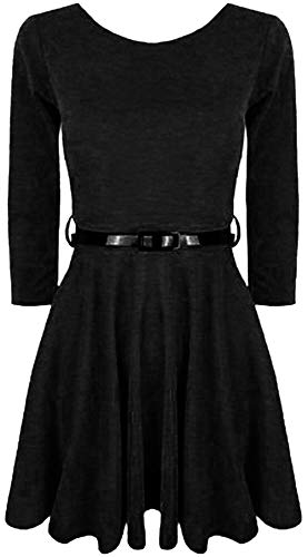 Aelstores Retro-Kleid für Mädchen, langärmelig, mit Gürtel, Gr. 7 / 9 / 11 / 13 Jahre Gr. 7-8 Jahre, Schwarz