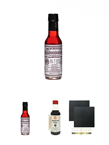 Peychauds Aromatic Cocktail Bitter 0,148 Liter + Peychauds Aromatic Cocktail Bitter 0,148 Liter + Angostura Aromatic Bitter (Hemmeter) 0,2 Liter + Schiefer Glasuntersetzer eckig ca. 9,5 cm Ø 2 Stück