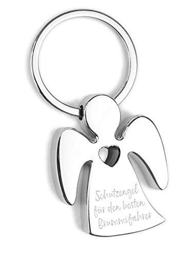 Schlüsselanhänger Schutzengel - für den besten Brummi Fahrer - Metall verchromt mit Herz und hochwertiger Lasergravur inkl. schöner Geschenkbox - Glücksbringer Talisman fürs Auto, Reise