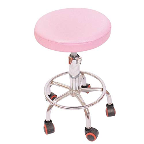 Effen kleur stoelhoes PVC Stretch elastische kussenovertrekken Stoelhoezen Dikke waterdichte kruk Stoelhoes voor eetkamer Keuken, roze, 33 cm 13
