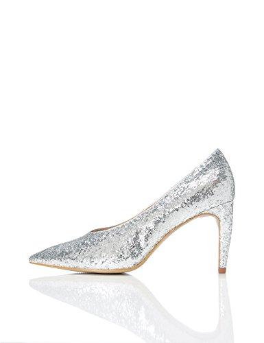 find. Zapatos de Tacón con Empeine Alto para Mujer, Plateado (Silver), 38 EU