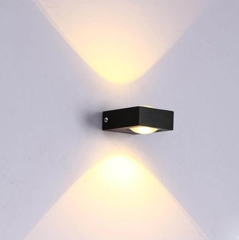 StiefelU LED Wandleuchte nach oben und unten Wandleuchten Outdoor Wand lampe Nachttischlampe Schlafzimmer Wand lampe Wohnzimmer Flur Treppe, 3W Warm Weiss Schwarz