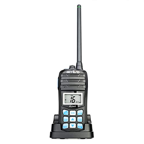 Retevis RT55 Marine Radio Handheld, Long Range Floating Walkie Talkie Waterproof IP67,NOAA Weather Alert Vibration Water Draining VHF Radio (1 Pack)