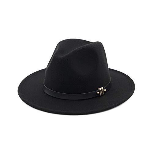 YKF-SYZ Elegante kap Jazz hoed unisex hoed dames vlakke herfst en winter wollen mutsen vrouwelijk Britse zwarte jazz hoed 55-58Cm11X7Cm, zwart