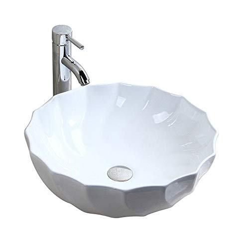 chicstyleme - Lavabo Redondo de cerámica con escurridor (sin Grifo), Color Blanco