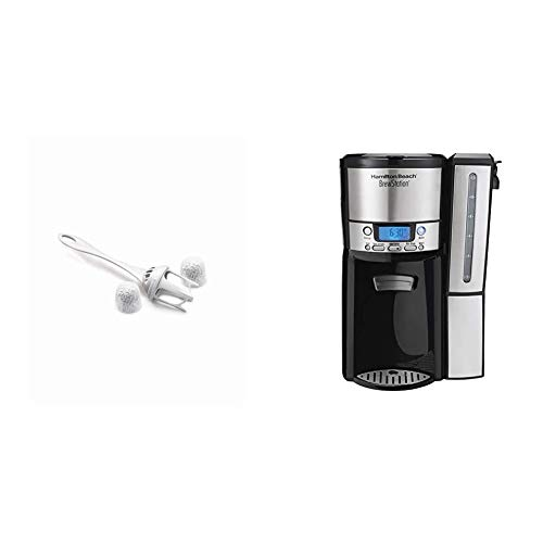 Hamilton Beach Coffeemaker Water Filter Replacement Pods and Handle, Charcoal, 2-Pack (80674R) & Hamilton Beach (47950) Coffee Maker with 12 Cup Capacity & Internal Storage Coffee Pot, Brewstation,