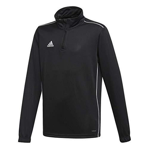 adidas Juniors' Core 18 Soccer Training Sweatshirt, Black/White, X-Large