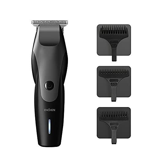 ENĆHEN Hummingbird Elektrische Haarschneidemaschine Herren Profi Haarscherer 10W USB Schnellladung Kabelloser Haartrimmer mit 3 Kammaufsätzen Geräuscharm für Männer Kinder Schwarz