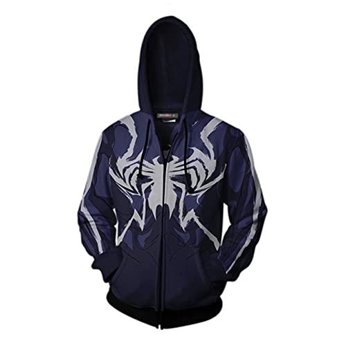 Kdiaodeng Kids Zip Up Casual Hoodie Spiderman Cosplay Pullover Superhéroe Moda Carnaval Sudadera Impresión 3D Pulseras Deportivas Al Aire Libre,Black-Adult/XL