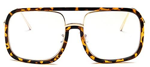 LOPIXUO Gafas de sol Gafas de sol cuadradas de gran tamaño para mujer, retro, transparente, para hombre, para mujer, anteojos, leopardo transparente