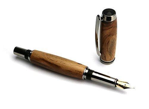 Handgedrechselter Füller - aus Weinrebe Holz mit verchromten Metallteilen, jedes ein Unikat Einzelstück, edel, ein schönes Geschenk für Büro und Anlässe, mit Etui, hergestellt in Deutschland