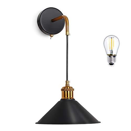 MantoLite Lámpara de Pared Moderna Industrial Retro Apliques de Pared Vintage Metal Rusticos Apliques Pared E27 Edison LED para la Cocina, Restaurante, Pasillo Decoración (Negro, Bombilla Incluida)