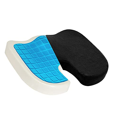 Lieyimnpilow Seat Cushion for Office Chair Gel Coccyx Orthopedic Memory Foam Back & Tailbone Pain Relief with Breathable Cover