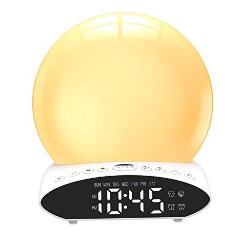 Fenteer Wake Up Licht Sonnenaufgang Wecker für Kinder, Schwere Schläfer, Schlafzimmer, mit Sonnenaufgang Simulation, schlafmittel, Dual Alarme, Snooze, 7
