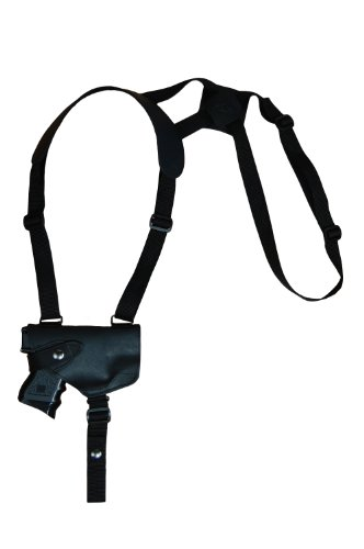 Barsony New Black Leather Horizontal Shoulder Holster for Springfield XDS Comp Left