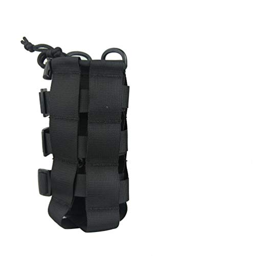 Iriisy Portabotellas de agua, bolsa resistente al agua,bolsa térmica para acampada,Bolsa de Botella de Agua Molle,Bolsa Titular Táctica para Correr Senderismo Ciclismo Camping Caza Actividades (Negro)