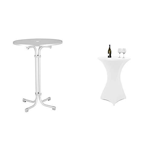 BEST 26570000 Stehtisch Multiflex rund 80 cm, weiß & Vanage Stretch-Husse für Bistrotische für einen Tischdurchmesser von 70-80 cm, weiß