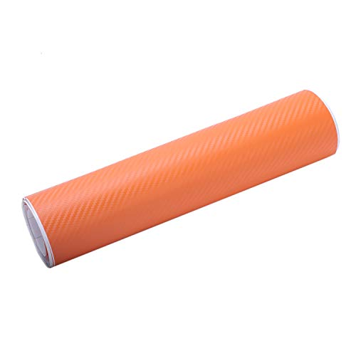 Fransande Rollo de vinilo adhesivo de fibra de carbono 30 x 127 cm, color naranja