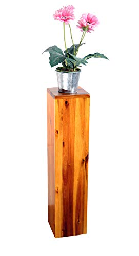 SAM Blumensäule Enie klein, Akazie, FSC 100{c16850b35351af9b621e74e2c32d3f0edc3cdab83f314e00ebef8544fda3bdec} Zertifiziert, Blumenständer aus Holz, lackiert, 15 x 15 x 65 cm