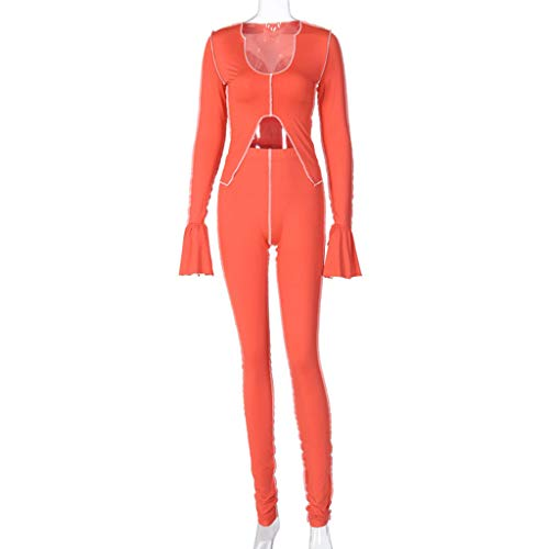 YOYOHO Women Outfit Set Flare Sleeve Crop Top Stacked Leggings Stripe Tracksuit - Red# S