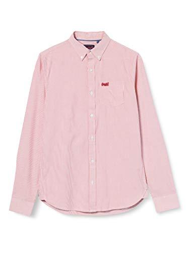 Superdry LS Classic University Oxford Camisa, Rojo (Broken N