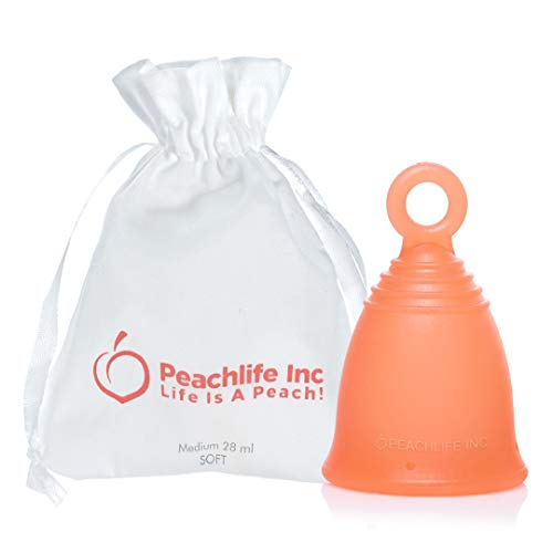 Menstrual Cup with Ring for Easy Removal - 12 Hour No Spill - Pad and Tampon Alternative - Medical Grade Silicone - PEACHCUP by PEACHLIFE Inc