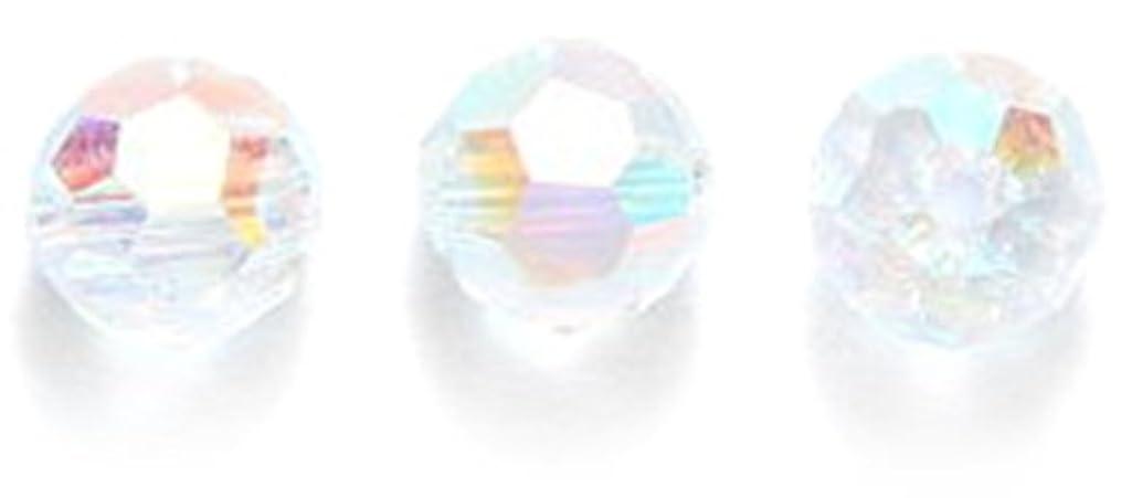 Swarovski #5000 Faceted Round Beads, Aurora Borealis Finish, 6mm, Crystal, 10-Pack