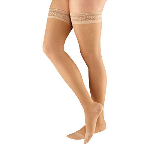 Actifi Women's Sheer 8-15 mmHg Compression Stockings, Thigh High, Closed Toe, Mild Support