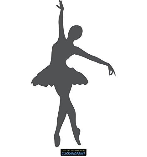 CLICKANDPRINT Aufkleber » Ballerina, 120x68,9cm, Dunkelgrau • Wandtattoo/Wandaufkleber/Wandsticker/Wanddeko/Vinyl