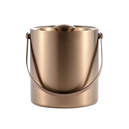 YUN&DSC Acero Inoxidable Cubo de Champán de Pared Doble con Aislamiento con Asas Laterales de la Tapa 2 litros de 3 litros (Color : Silver, Size : 3L)