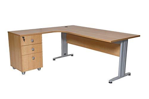 furni24 Schreibtisch Winkelschreibtisch Eckschreibtisch Computertisch buche inkl. Beistellcontainer 180 cm x 120 cm x 74 cm Links gewinkelt
