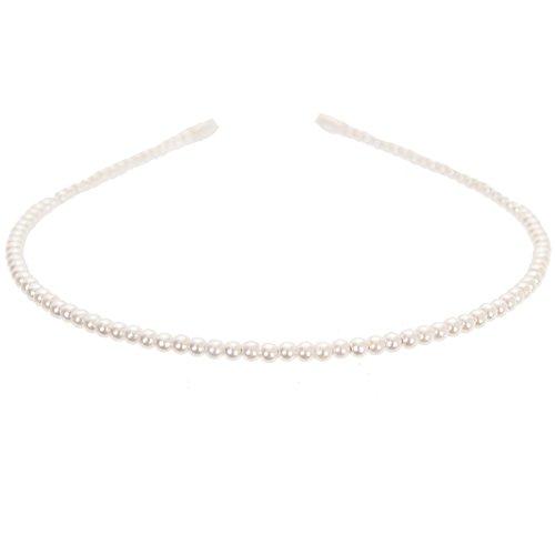 JUSTFOX - Mädchen Perlen Haarreif Kommunion in Creme/weiß
