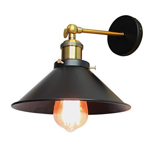 Apliques de Pared Vintage Lámpara de Pared Vintage Industrial Edison luz E27 Iluminación de Pared Retro Interior Lámparas de Pared LED para Dormitorio Pasillo Cafe Loft Bar Diámetro 22cm Negro